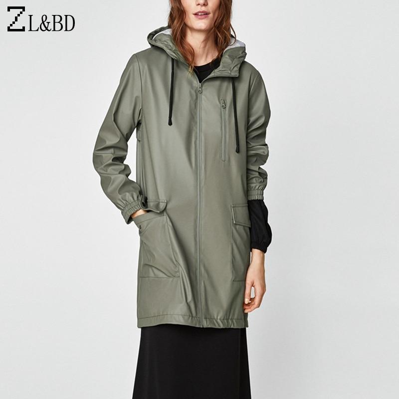 ZL&BD tunique longue femme Long Trench Coat Women Hooded Park Waterproof Trench Coat Windbreaker casaco feminino ZA368