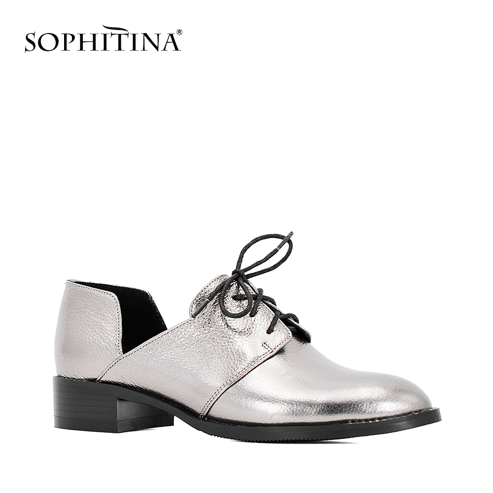 SOPHITINA Genuine Leather Casual Pumps Round Toe Square Low Heels Lace Up Autumn Shoes Handmade Soft Women Shoes Blue Silver W17