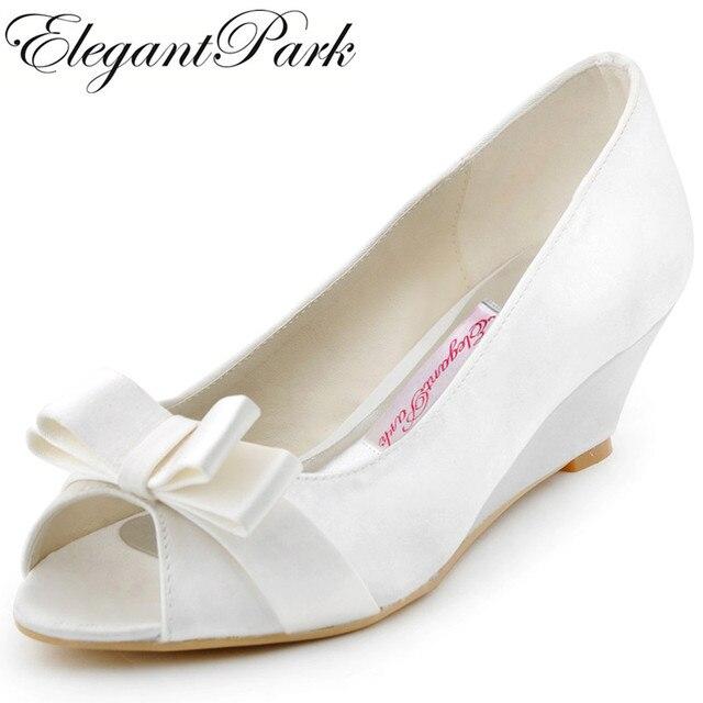 492bc5e22897 WP1402 Woman Shoes wedges Mid Heel wedding bridal Ivory white Peep Toe Bow  Satin ladies bride bridesmaids prom dress party pumps