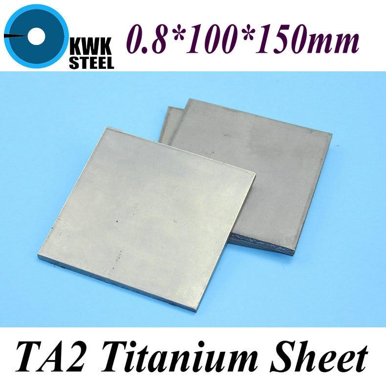 0.8*100*150mm Titanium Sheet UNS Gr1 TA2 Pure Titanium Ti Plate Industry or DIY Material Free Shipping 1pc new titanium plate sheet ti metal for industry tool 100 100 0 5