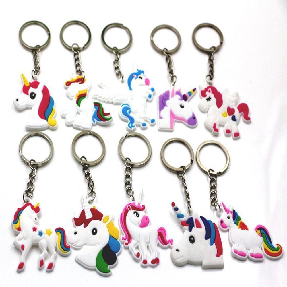 1PC Trendy Cute Fairytale PVC Unicorn Keychain Multi-style Horse Key Holder Alloy Key Ring For Woman Girls Gift Jewelry