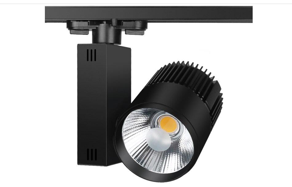 10pcslot Track Lighting Rail Lamp Spot 30W COB Clothing Shoes Shop Store Black White Track Lights LED Rail Spotlight 3 phase (9)