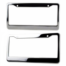 2Pcs/set Silver Stainless Steel Metal License Plate Frame Tag Cover Screw Caps 2017 New Style