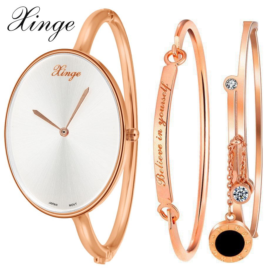 Xinge Brand Luxury Crystal Quartz Watch Women Bracelet Jewelry Watch Set Wristwatch Waterproof Women Dress Female Watch xinge brand watch women bracelet rhinestone chain bangles jewelry watch set wristwatch waterproof ladies gold quartz watch