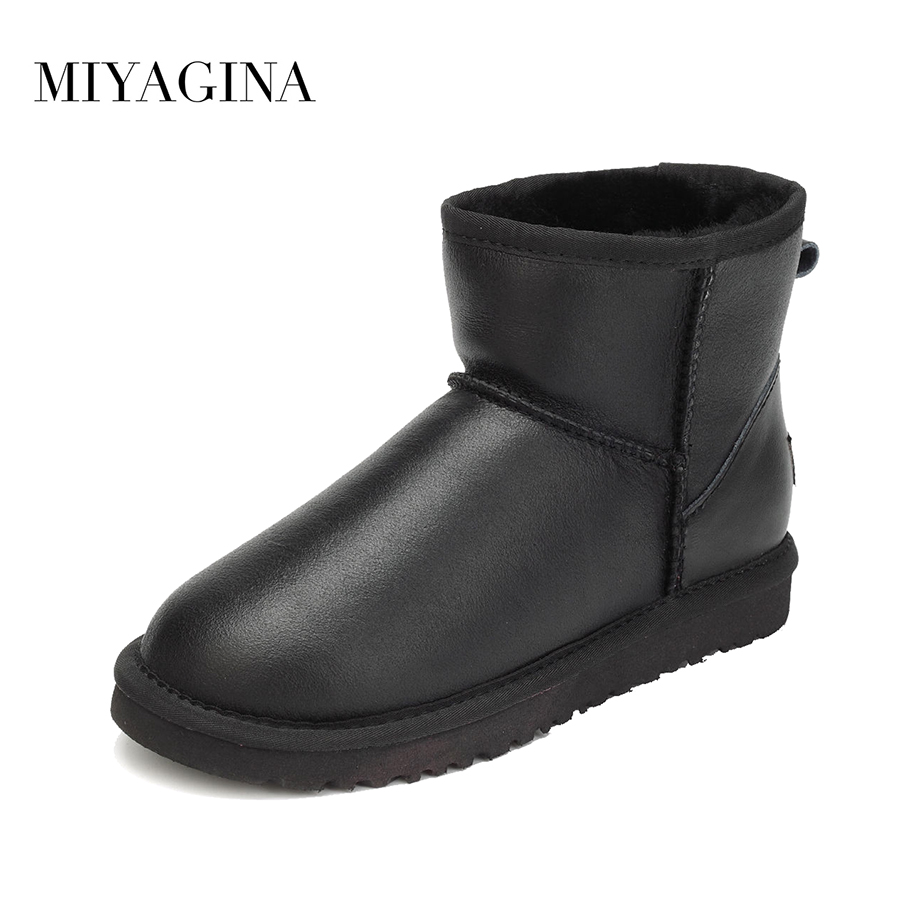 Hot Sale High Quality Women Snow Boots Winter Warm Boots Genuine Sheepskin Leather 100% Natural Fur Women Ankle Boots de la chance winter women boots high quality female genuine leather boots work