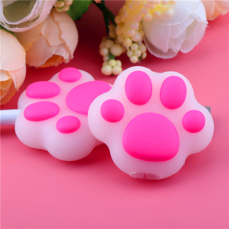 HTB1s4RiTrvpK1RjSZFqq6AXUVXaX Cartoon Pink Cat Paws Cable bite protector  for Original iphone usb cable Cartoon organizer winder Cute Animal Cable Holder