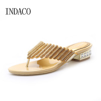 Genuine Leather Flip Flops Low Heel Silver Rhinestone Shoes Thick Heel Gold Summer Slippers Plus Size