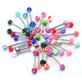 30pcs/Lot Mixed Color Fashion Stainless Steel Tongue Bar Rings Ball Barbell Women Body Piercing Jewelry Gift