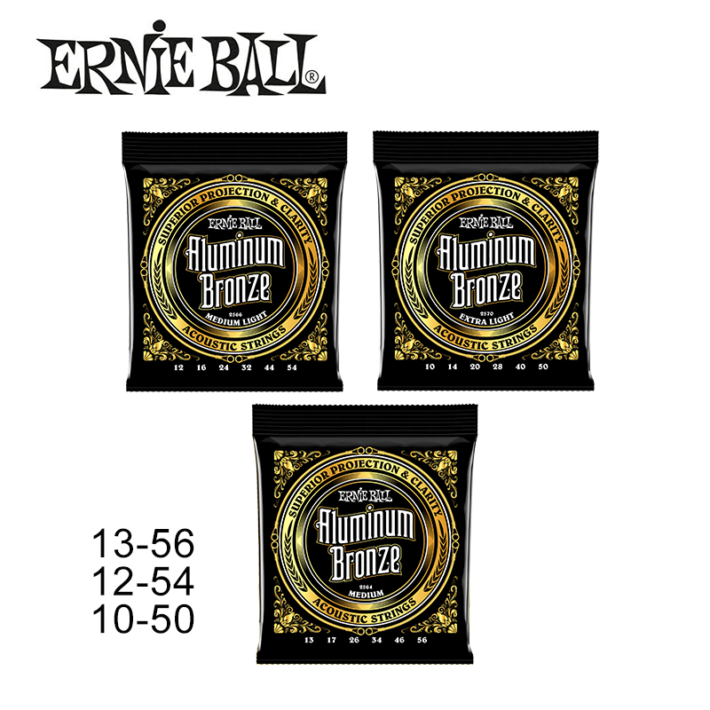 Original Ernie Ball Aluminum Bronze Acoustic Guitar Strings 1 Set of String 2564 2566 2570 amola acoustic guitar strings set 010 012 011 pure copper steel 010 047 acoustic wound guitar 1 6th string musical instruments