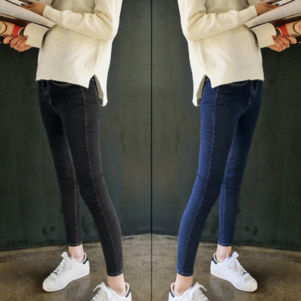 Slim Jeans Women Elastic Skinny High Waist Jeans Woman Blue Denim Pencil Pants Stretch Waist Jeans Black Pants Trousers Calca women jeans large size high waist autumn 2017 blue elastic long skinny slim jeans trousers large size denim pants stretch female