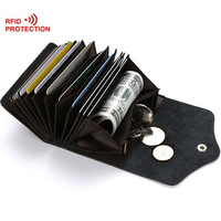 Rfid Card Holder Leather Rfid Wallet Protection Credit Card Holder Travel Wallet With Coin Pocket Unisex