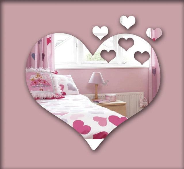 Hearts 3D mirror wall sticker , decorative mirror frame sticker for ...