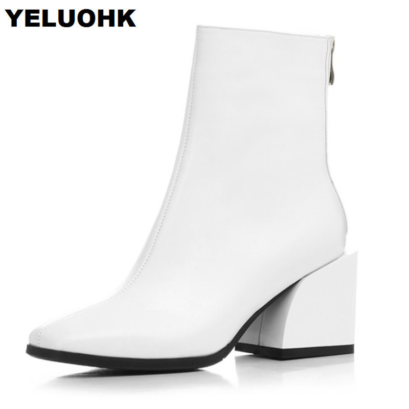 Brand New Genuine Leather Boots Women Shoes Square Toe Ankle Boots For Women Fashion Mid Heel Autumn Shoes Woman High Heels aercourm a 2017 ankle boots women genuine leather shoes cowhide high heel shoes metal buckle brand shoes women zippe boots z958