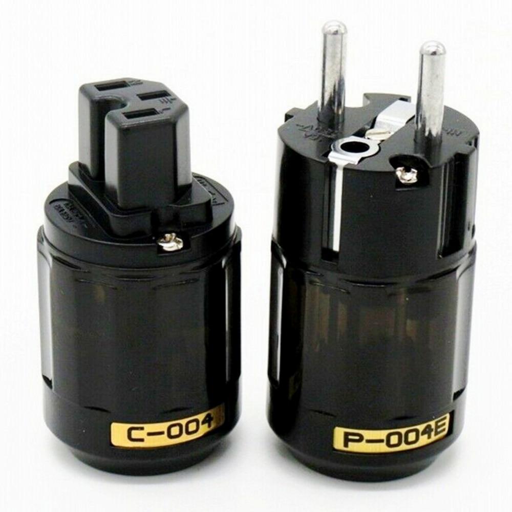 Pure Copper Rhodium Plated C-037 IEC P-037e Schuko EU Plug For Audio Power Cable