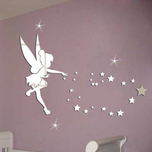 Incroyable MEYA 26pcs/set Tinkerbell Fairy Wall Mirror Acrylic Mirrored Decorative Tinker  Bell Wall Stickers Home