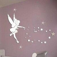 MEYA 26pcs/set Tinkerbell Fairy Wall Mirror Acrylic Mirrored Decorative Tinker bell Wall stickers Home Decoration Wall Art Paper