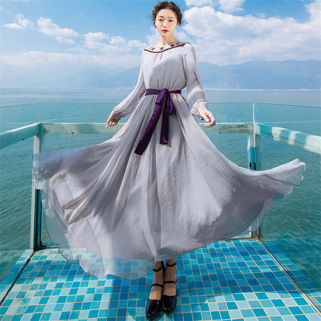 New High Quality Explosions Leisure Elegant embroidery Dresses  Women  lace spring summer Casual Shirt Dress 2