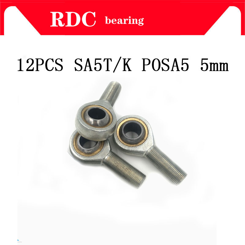 10pcs 5mm Female Right Hand Thread Rod End Joint Bearing Metric Thread M5x0.8mm