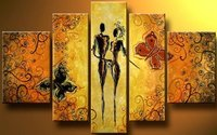 Żółty Kochanka Taniec Nowoczesne Malarstwo abstrakcyjne Na Wall Art Canvas Obraz Olejny Salon Decor Obraz Sztuki pracy Prezenty c 011
