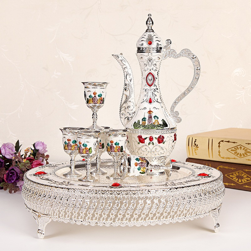 decorations for home Russian European Style Wine Cup Liquor  Set Creative Alloy Old Pot Gift