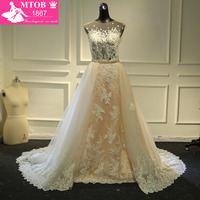 Fashionable Lace Wedding Dress 2017 Light Pink Removable Beading Sash Detachable Tail Chapel Train Robe De