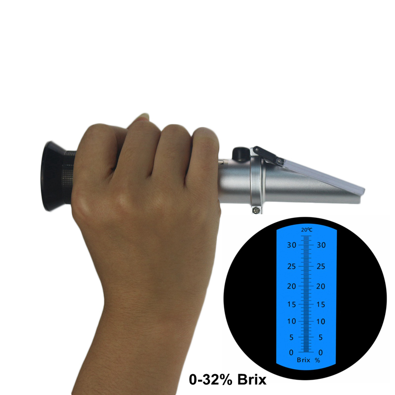 Refractometer Brix Sugar Wort 0-32% ATC Refratometro Tester Hand-held Portable Meter Mreaure Tool 2018 new hand held brix refractometer for sugar beer brix test optical 0 32% brix atc fruit sugar meter saccharimeter