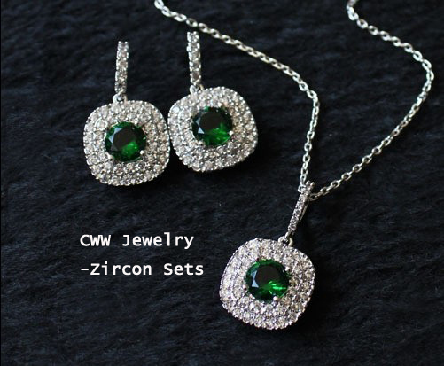 Cwwzircons 100 Top Quality Fashion Cubic Zirconia Jewelry Sets Round Shape Green Necklace Pendant And Earring For Women T023 In From