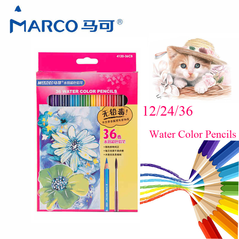 Marco 4120 Non-toxic Water Soluble Colored Pencils 12/24/36 Colors Watercolor Pencil Set for Kid Student Drawing School Supplies 12 24 36 48 72 colors non toxic indonesia lead water soluble colored pencil watercolor pencil set for write drawing art supplies
