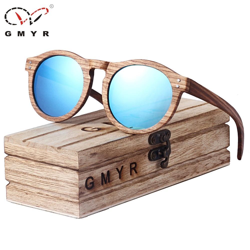 611d7cf15887 Best buy GMYR Round Wooden Sunglasses Polarized Zebra with wood Case Men  Women 4 Lenses 2018 Brand Sunglasses online cheap