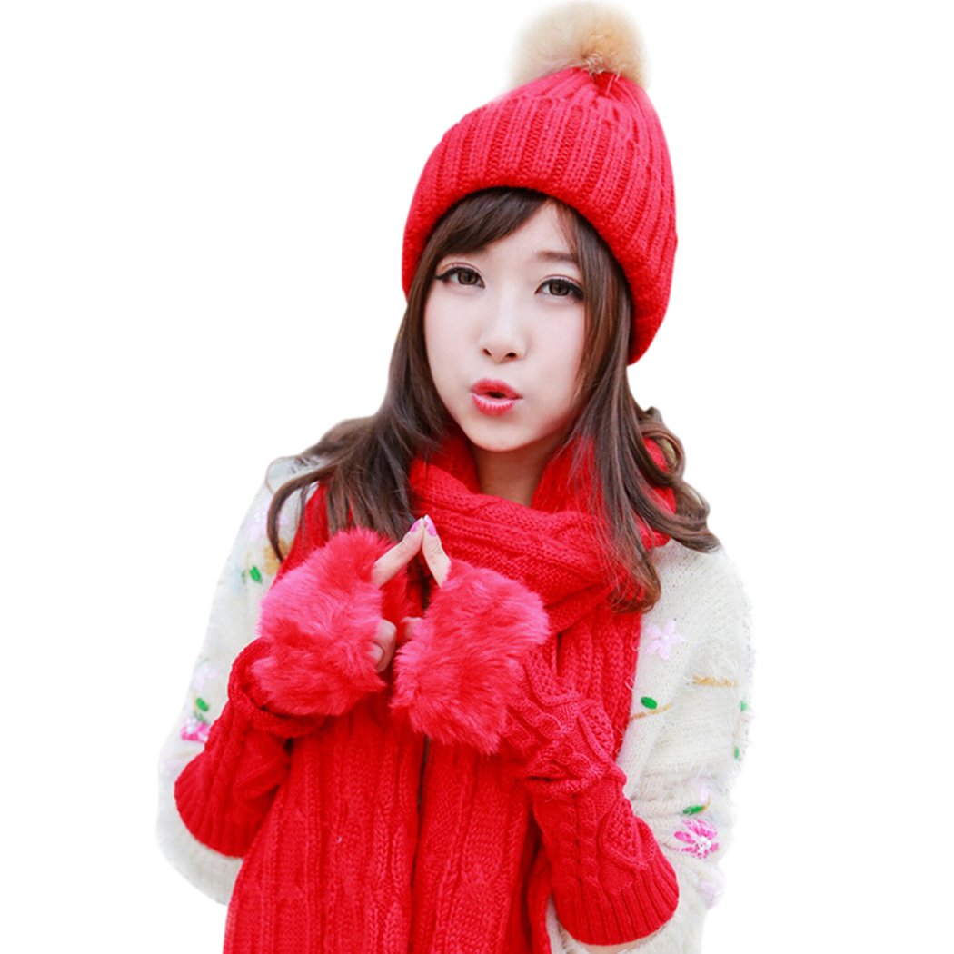 2017 Woman Winter Hat and <font><b>Gloves</b></font> Set Women Knitted Hats Scarf Mittens Beanie Long <font><b>Glove</b></font> Scarfs for Women Christmas Gifts Box Hot
