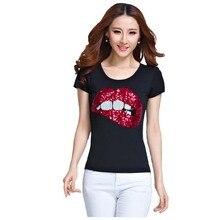 Cotton t shirt women t-shirt feminino lips short sleeve tshirt women clothes vetement femme sequined big size tee shirt femme