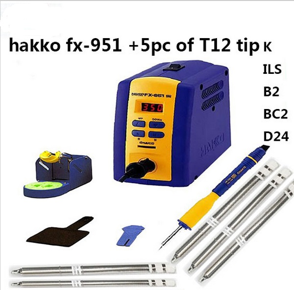 Copie sans plomb 220 V/110 v numérique ESD FX-951 À Souder Station hakko fx-951 système de reprise avec 5 pc de T12 pointe