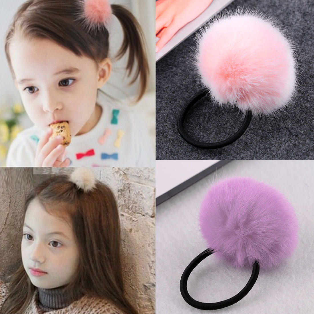 Korean Artificial Marten Ball hair Elastic Band Ponytail Holder Girl Kids Scrunchy Hair Accessories Gift Gum for Hair m mism korean artificial marten ball hair elastic band ponytail holder girl kids scrunchy hair accessories gift gum for hair