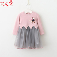 R & z赤ちゃん女の子のドレス2018春セーターネットステッチコサージュ長袖oネックドレス用子供服子供の服