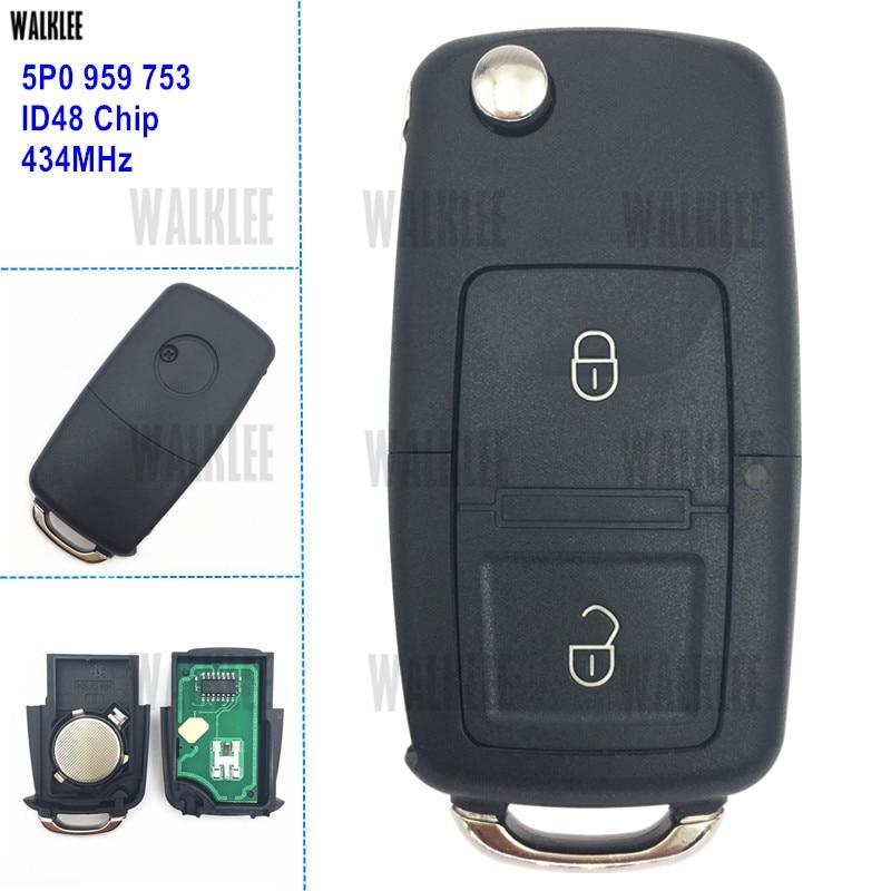 WALKLEE Car Vehicle Remote Key 434MHz for SEAT/SKODA/VW/VOLKSWAGEN 5P0959753 5P0 959 753 Door Lock Control with ID48 Chip