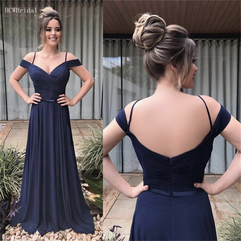 Navy Blue Pleat Chiffon   Bridesmaid     Dresses   2019 Custom Made Maid Of Honor   Dress   Cheap A Line Boat Neck Long Wedding Party Gowns