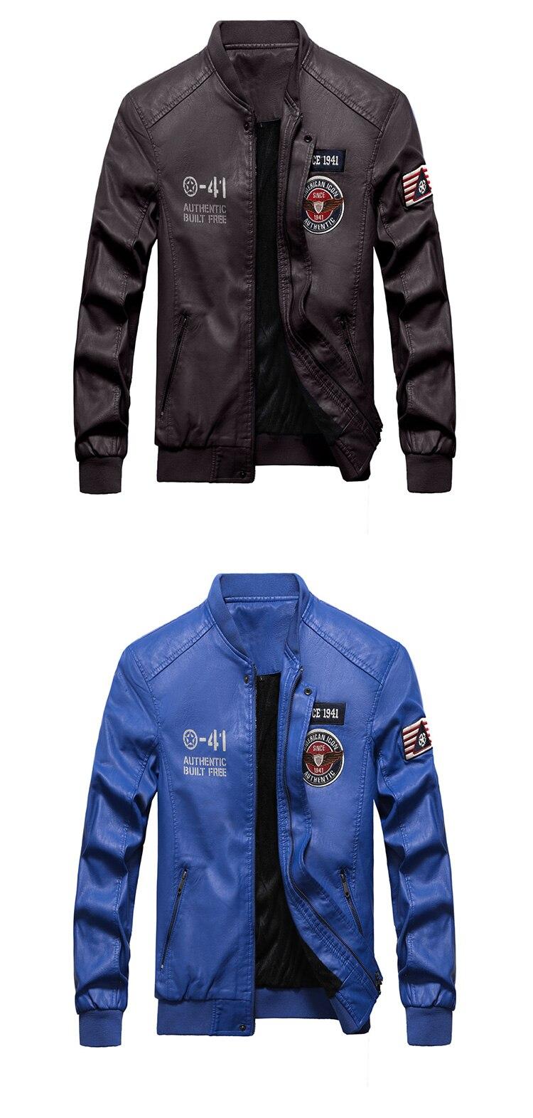 2019 Fashion Leather Bomber Jacket Men Autumn Winter Military Jackets Male Fleece Liner Outwear Coats Warm PU Baseball Jackets