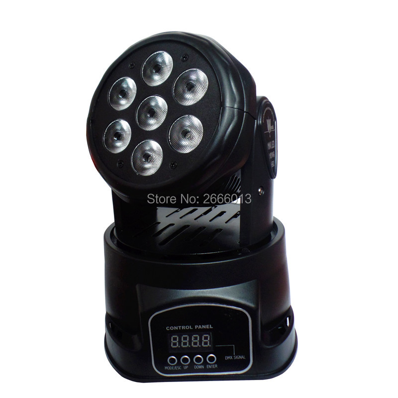 Free&Fast shipping Best quality LED Moving Head Mini wash 7x12w RGBW Quad with advanced 14 channels LED DMX effect stage lights