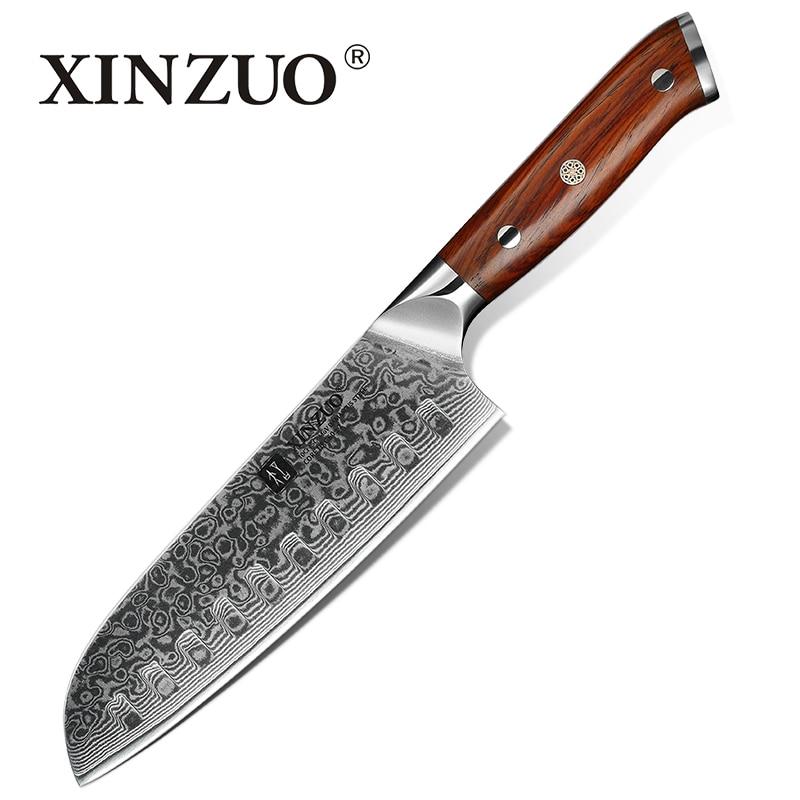 XINZUO couteau de cuisine japonais de 7 pouces couteau de cuisine chinois en acier inoxydable damas, couteaux professionnels Santoku manche en palissandre