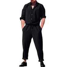 c7892316637c Men s Long Romper Sleeve Casual Cargo Pants Jumpsuit Siamese loose Trousers  Playsuit men casual jumpsuits solid