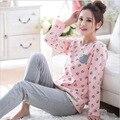 Más tamaño pijamas casa ropa busto 96-112 cm ropa de dormir ropa de Dormir Pijamas Mujeres Mujer Pijama de Algodón Pijamas d111
