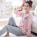 Plus size conjuntos de pijama roupas busto 96-112 cm roupa em casa Sleepwear Pijama Pijama De Algodão Pijamas Das Mulheres do Sexo Feminino d111