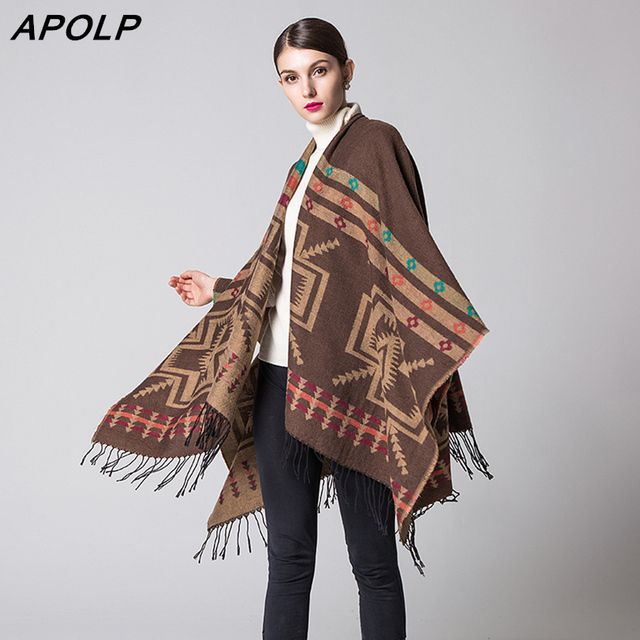 APOLP Feitong Winter Women Overwear Sweaters Cardigan Long Sleeve Striped Knitted Poncho Capes Open Stitch Shawl Cardigan With
