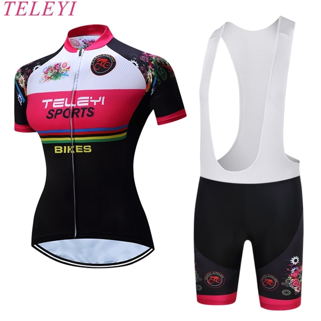 TELEYI Iliana Women 100% Polyester Breathable Bicycle Clothes Summer Short  Sleeve Cycling Clothing Ropa Ciclismo Cycling Jersey 21fae88c3