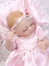27CM Silicone reborn dolls miniature baby girl dolls with pretty pink dress pillow  wedding gift kids bath toys bonecas