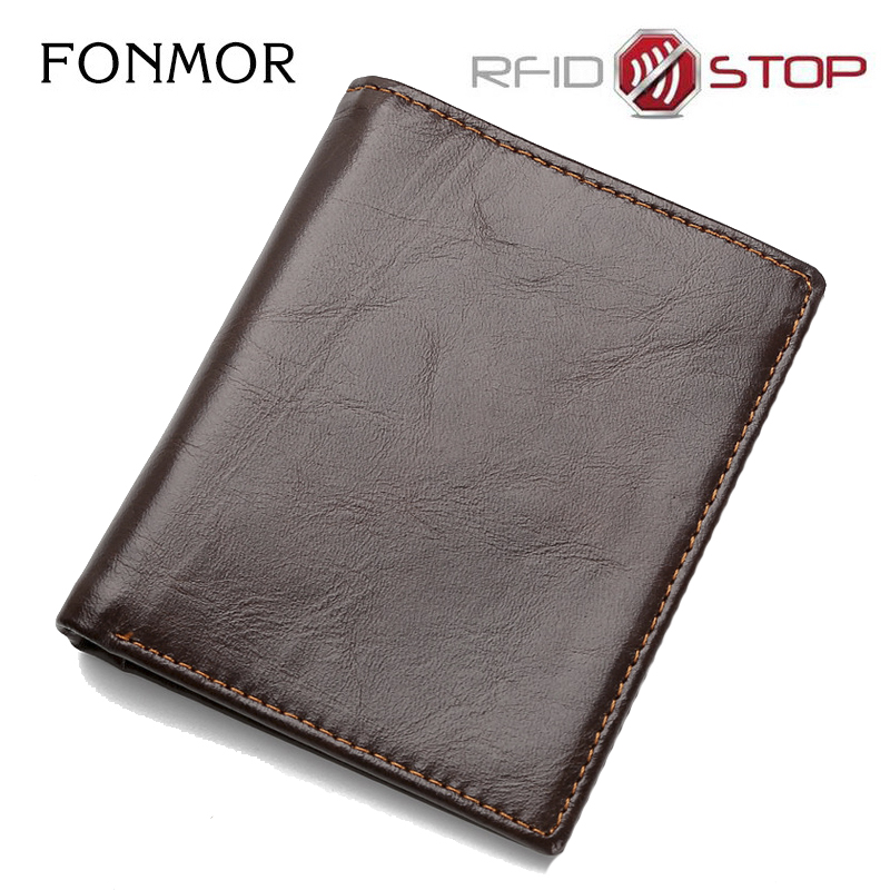 RFID Oil Wax Leather Wallet for Men,Vintage Genuine Leather Thin Men's Wallet,Small Short Wallets Male