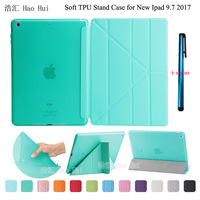 Fashion Ultrathin Smart Cover Transform PU Leather Case TPU Translucent Back Case For Apple Ipad Air