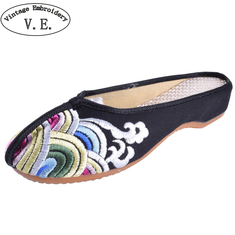 Summer Women Slippers Black Wave Embroidery Cotton Old Peking Sandals Chinese Elegant Ladies Cloth Shoes Sandalias Woman mnixuan women slippers sandals summer