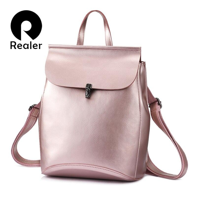 REALER women backpack split leather backpack school bag for teenagers vintage bag pack large travel bag