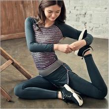 2016 Striped Women Yoga Sets Running Long Sleeves Yoga T-shirts Long Elastic Pants Leggings Female Fitness Clothes Set Sportwear